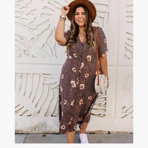 Brown/Floral Calf length Dress